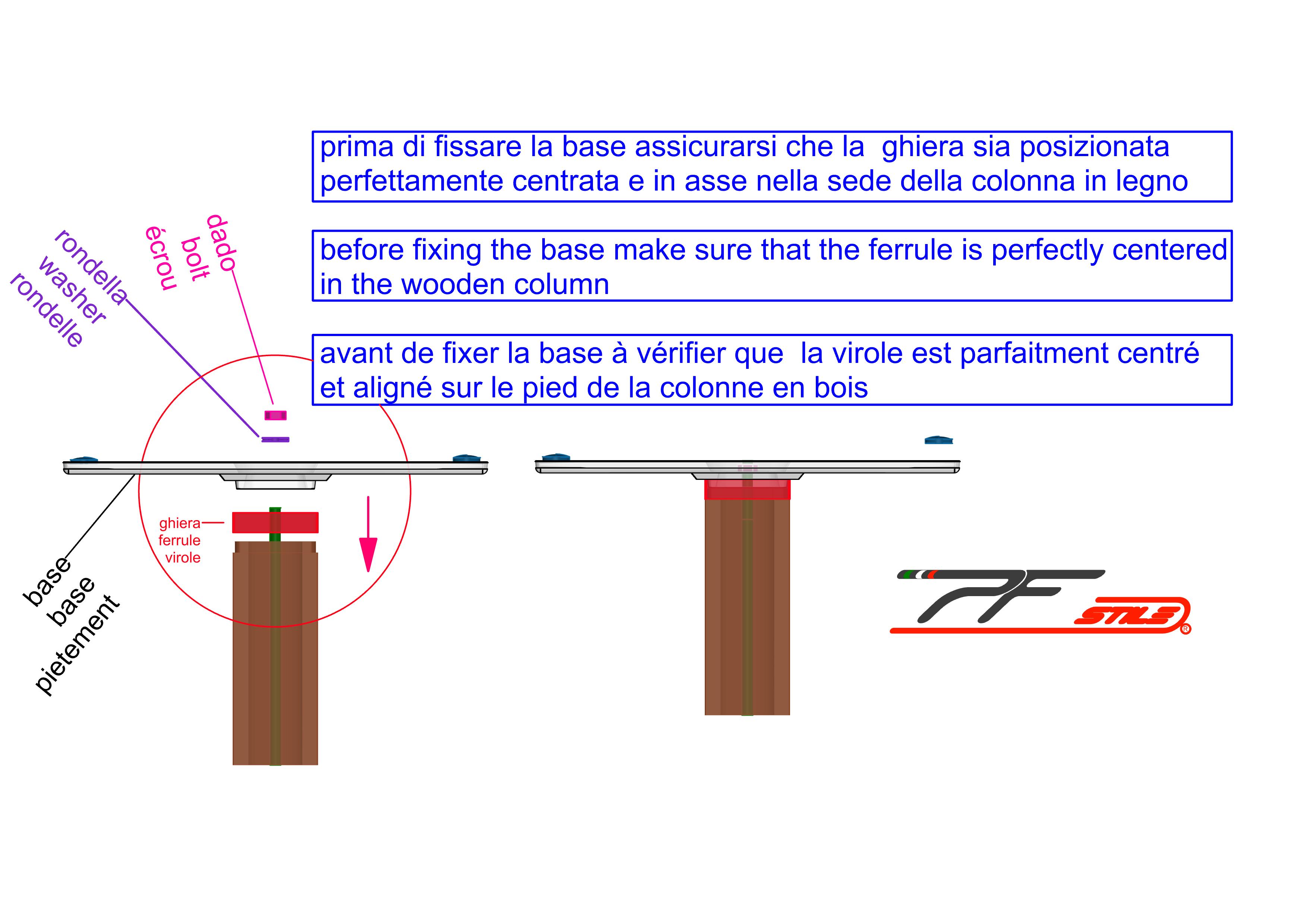 assemblaggio base 110Q con colonna in legno - ghiera